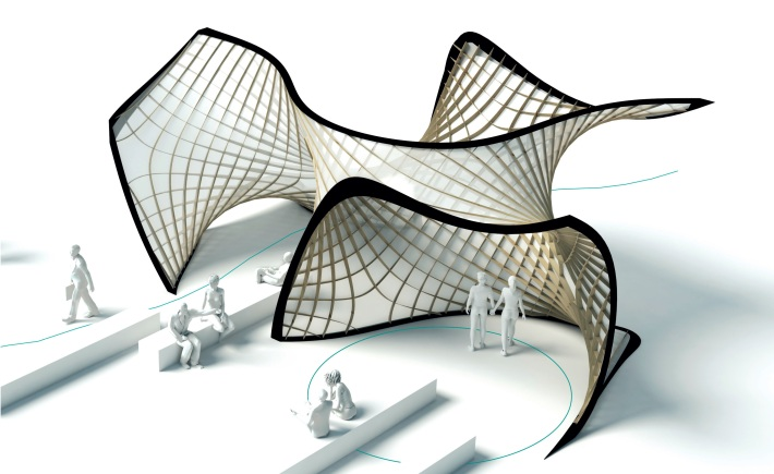 Fig. 4: Design proposal for an Asymptotic Gridshell for the Structural Membranes Conference 2017 in Munich. Design & Visualisation: Denis Hitrec